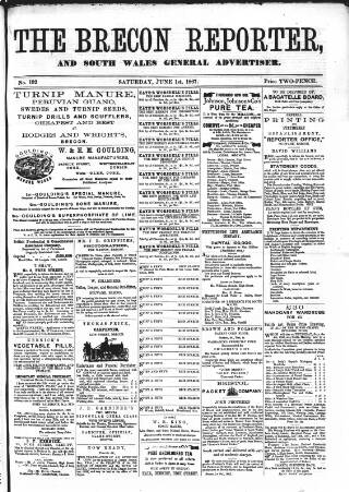 cover page of Brecon Reporter and South Wales General Advertiser published on June 1, 1867