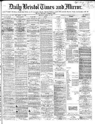 cover page of Bristol Times and Mirror published on March 24, 1870