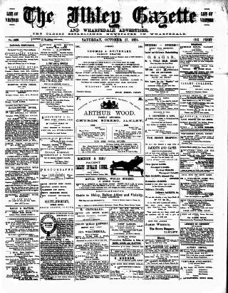cover page of Ilkley Gazette and Wharfedale Advertiser published on October 17, 1891