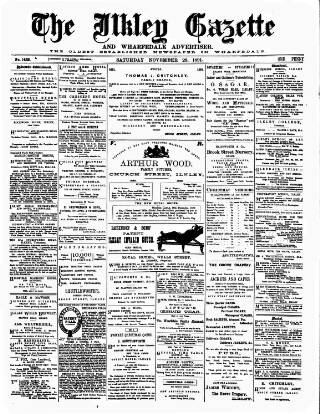 cover page of Ilkley Gazette and Wharfedale Advertiser published on November 28, 1891