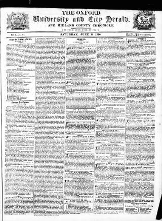 cover page of Oxford University and City Herald published on June 3, 1815