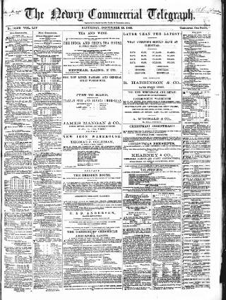 cover page of Newry Telegraph published on December 15, 1866