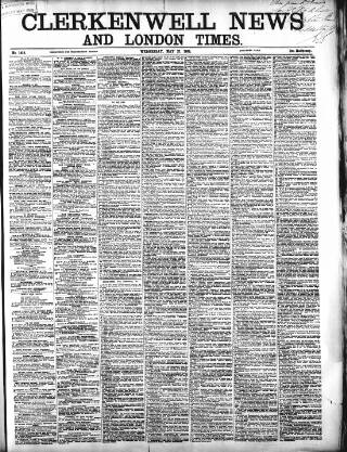 cover page of Clerkenwell News published on May 27, 1868