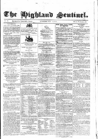 cover page of Highland Sentinel published on December 28, 1861