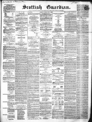 cover page of Scottish Guardian, Glasgow published on May 9, 1856