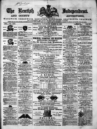 cover page of Kentish Independent published on March 21, 1863