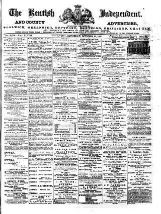 cover page of Kentish Independent published on October 18, 1890
