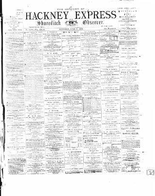 cover page of Shoreditch Observer published on June 21, 1879