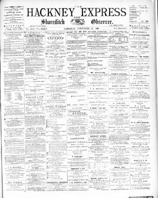 cover page of Shoreditch Observer published on September 26, 1891