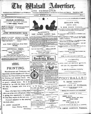 cover page of Walsall Advertiser published on February 23, 1886