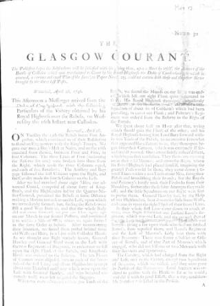 cover page of Glasgow Courant published on May 12, 1746