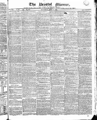 cover page of Bristol Mirror published on April 18, 1835