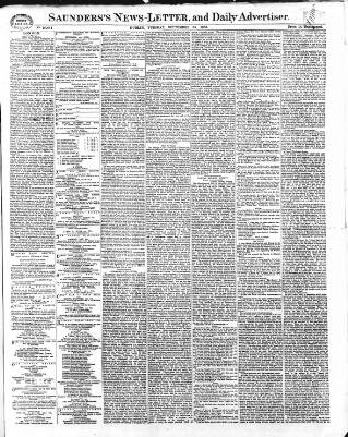 cover page of Saunders's News-Letter published on September 25, 1866
