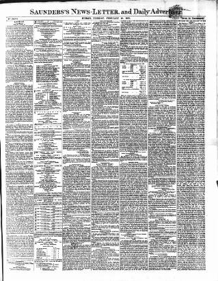 cover page of Saunders's News-Letter published on February 19, 1867