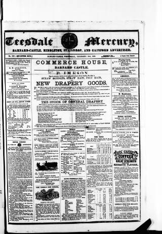 cover page of Teesdale Mercury published on December 18, 1861