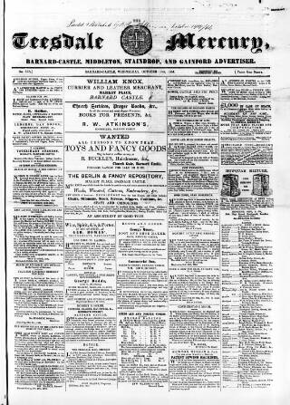 cover page of Teesdale Mercury published on October 19, 1864