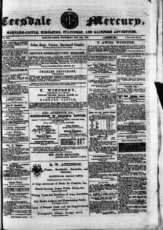 cover page of Teesdale Mercury published on May 16, 1866