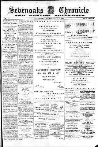 cover page of Sevenoaks Chronicle and Kentish Advertiser published on June 3, 1892