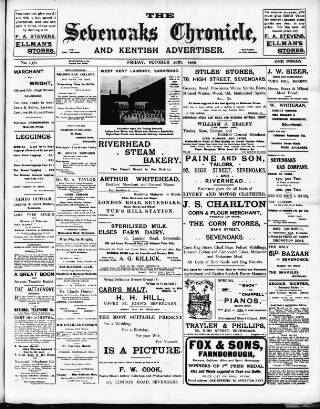 cover page of Sevenoaks Chronicle and Kentish Advertiser published on October 20, 1905