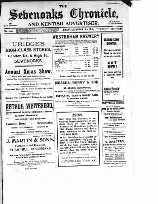 cover page of Sevenoaks Chronicle and Kentish Advertiser published on December 15, 1916