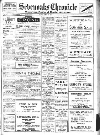 cover page of Sevenoaks Chronicle and Kentish Advertiser published on July 17, 1931