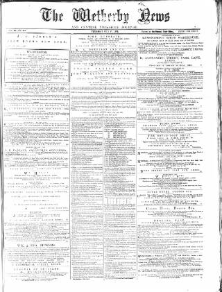 cover page of Wetherby News, and Central Yorkshire Journal published on July 17, 1879