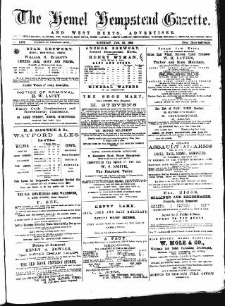 cover page of Hemel Hempstead Gazette and West Herts Advertiser published on January 23, 1886