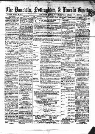 cover page of Doncaster Gazette published on April 29, 1870