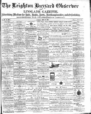 cover page of Leighton Buzzard Observer and Linslade Gazette published on July 18, 1876