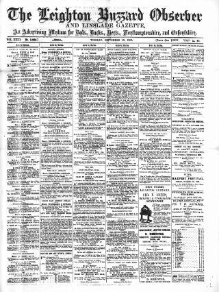 cover page of Leighton Buzzard Observer and Linslade Gazette published on September 25, 1883