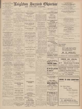 cover page of Leighton Buzzard Observer and Linslade Gazette published on November 21, 1939