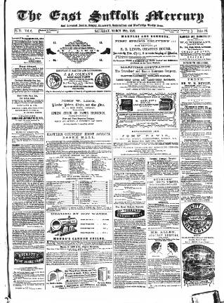 cover page of East Suffolk Mercury and Lowestoft Weekly News published on March 12, 1859