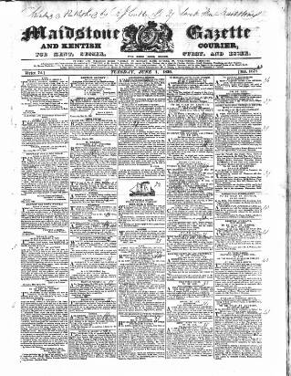 cover page of South Eastern Gazette published on June 1, 1830