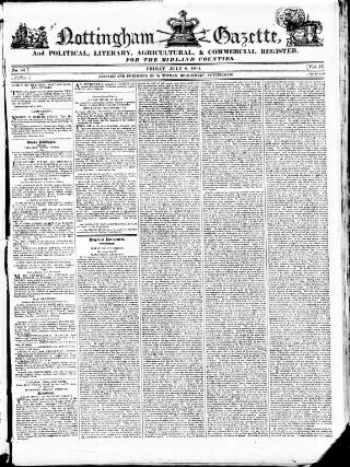 cover page of Nottingham Gazette, and Political, Literary, Agricultural & Commercial Register for the Midland Counties. published on July 8, 1814