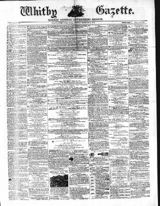cover page of Whitby Gazette published on December 14, 1872