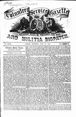 cover page of Volunteer Service Gazette and Military Dispatch published on July 21, 1860