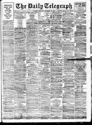 cover page of Daily Telegraph & Courier (London) published on February 16, 1911