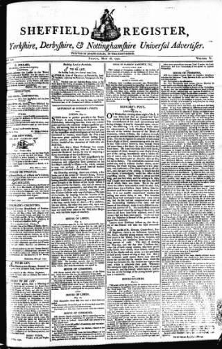 cover page of Sheffield Register, Yorkshire, Derbyshire, & Nottinghamshire Universal Advertiser published on May 18, 1792