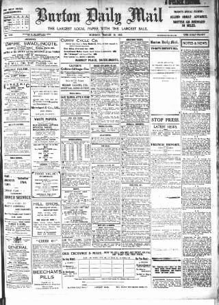 cover page of Burton Daily Mail published on March 19, 1917