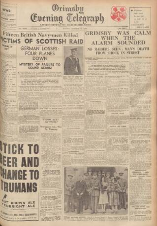 cover page of Grimsby Daily Telegraph published on October 17, 1939