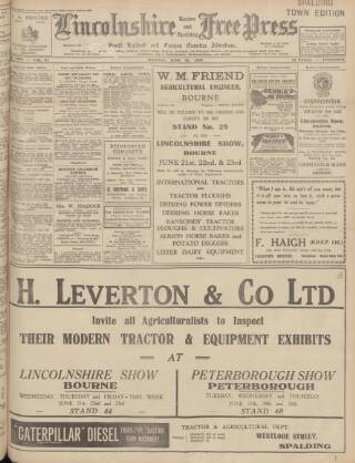 cover page of Lincolnshire Free Press published on June 19, 1939