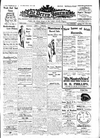 cover page of Derry Journal published on July 21, 1930