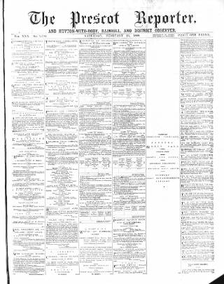 cover page of Prescot Reporter, and St. Helens General Advertiser published on February 23, 1889