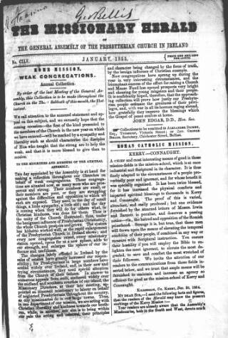 cover page of Missionary Herald of the Presbyterian Church in Ireland published on January 1, 1855