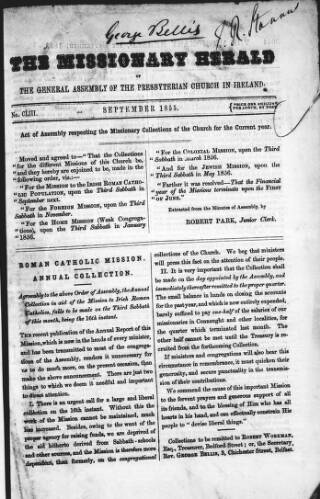 cover page of Missionary Herald of the Presbyterian Church in Ireland published on September 3, 1855