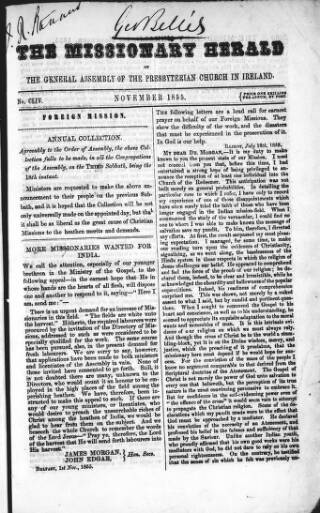 cover page of Missionary Herald of the Presbyterian Church in Ireland published on November 5, 1855