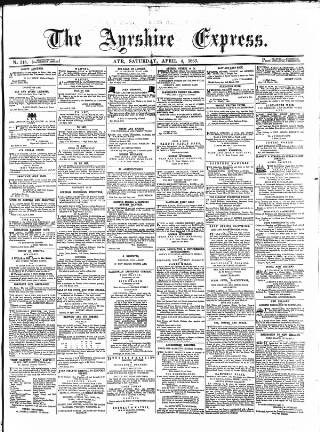 cover page of Ayrshire Express published on April 4, 1863