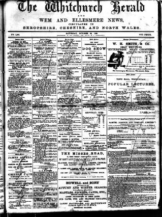 cover page of Whitchurch Herald published on October 22, 1898