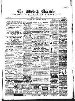 cover page of Wisbech Chronicle, General Advertiser and Lynn News published on March 15, 1862