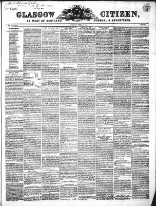 cover page of Glasgow Citizen published on April 27, 1844